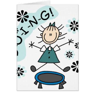Stick Girl on Trampoline Greeting Card