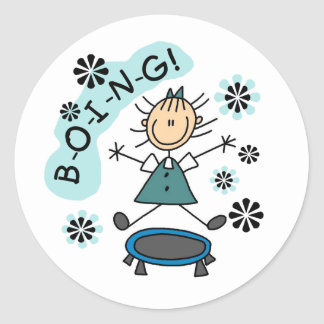 Stick Girl on Trampoline Round Sticker