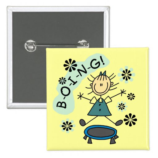 Stick Girl on Trampoline T-shirts and Gifts 15 Cm Square Badge