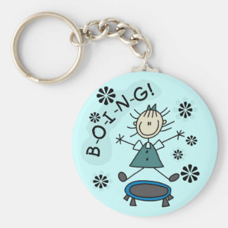 Stick Girl on Trampoline T-shirts and Gifts Basic Round Button Key Ring