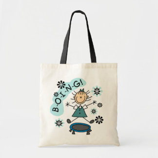 Stick Girl on Trampoline T-shirts and Gifts Budget Tote Bag
