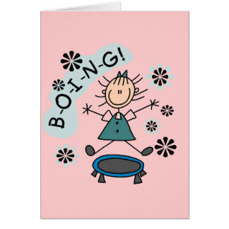 Stick Girl on Trampoline T-shirts and Gifts Greeting Card