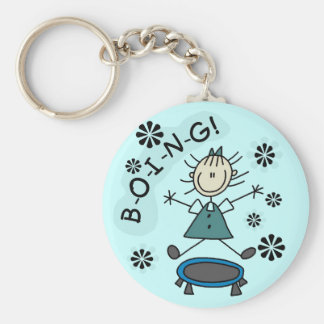Stick Girl on Trampoline T-shirts and Gifts Keychains