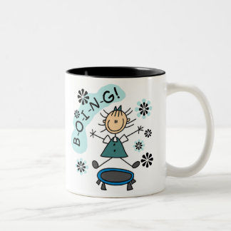Stick Girl on Trampoline Two-Tone Coffee Mug