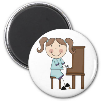Stick Girl Playing Piano 6 Cm Round Magnet