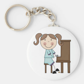 Stick Girl Playing Piano Basic Round Button Key Ring