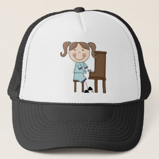 Stick Girl Playing Piano Cap