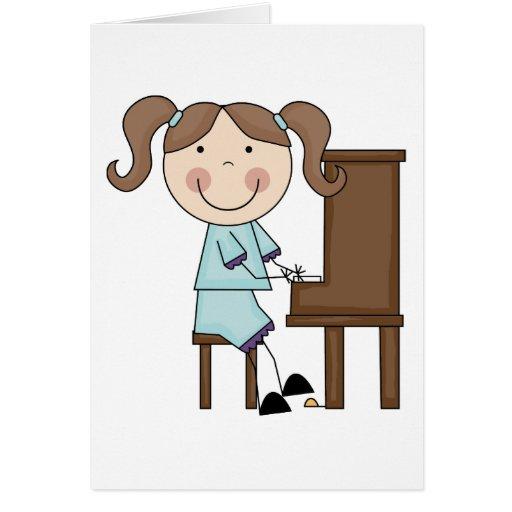 Stick Girl Playing Piano Greeting Card