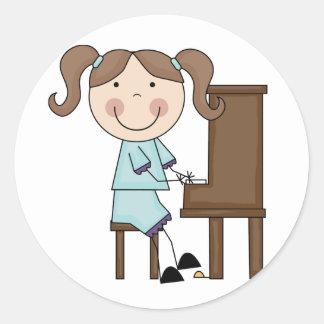Stick Girl Playing Piano Classic Round Sticker