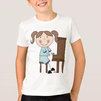 Stick Girl Playing Piano Shirts