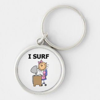 Stick Girl Web Surfing T-shirts and Gifts Key Chains