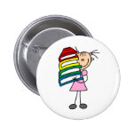Stick Girl with Books Pin