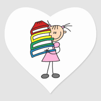 Stick Girl With Books Heart Stickers