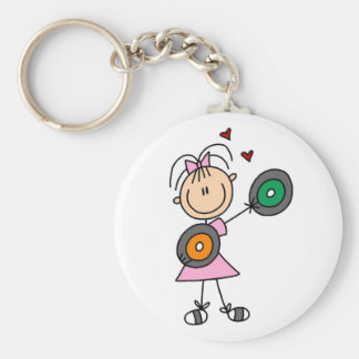 Stick Girl with Records T-shirts and Gifts Basic Round Button Key Ring