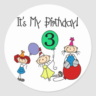 Stick Kids Party 3rd Birthday Tshirts and gifts Round Sticker