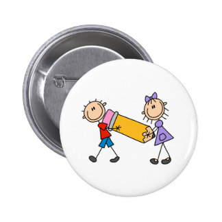 Stick Kids With Pencil 6 Cm Round Badge