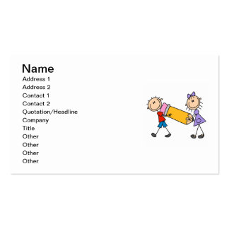 Stick Kids With Pencil Pack Of Standard Business Cards