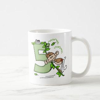 Stick Monkey Swing 5th Birthday Basic White Mug