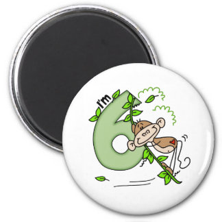 Stick Monkey Swing 6th Birthday Fridge Magnet