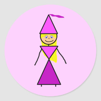 Stick Princess Blonde Round Stickers