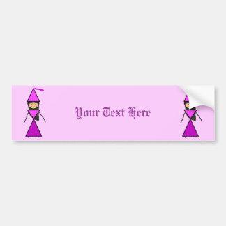 Stick Princess Dark Brunette Car Bumper Sticker