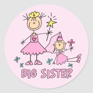 Stick Princess Duo Big Sister Classic Round Sticker