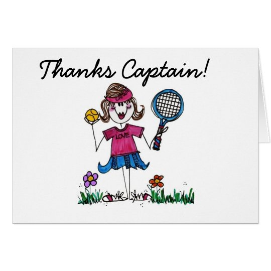 Stick Tennis Girl Card