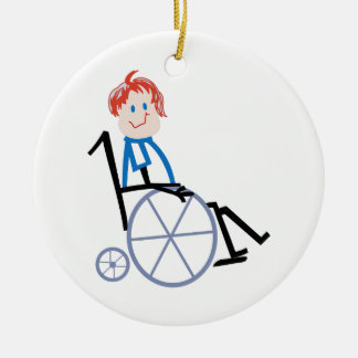 Stick Wheelchair Kid Round Ceramic Decoration