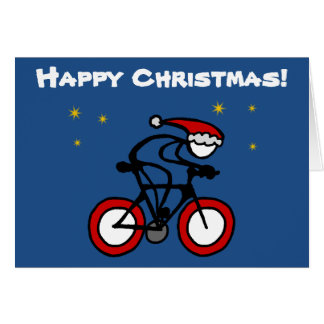 Stick-With-Sport Christmas Santa Cyclist Customize Greeting Card