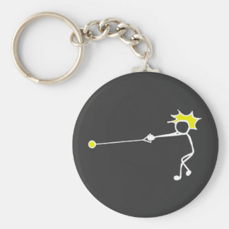 Stick-With-Sport Hammer Thrower Black Yellow Basic Round Button Key Ring