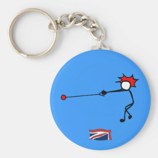 Stick-With-Sport Hammer Thrower UK Basic Round Button Key Ring