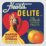 Sticker Ad Vintage Hearts Couple Dance Fruit crate