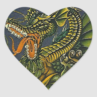Sticker Angry Green Dragon Heart Claw Spit