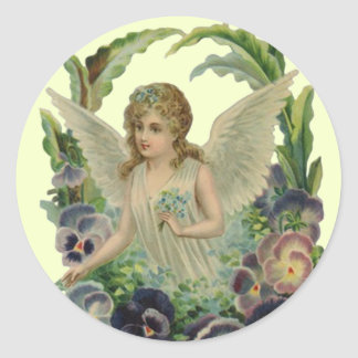 Sticker antique Angel w/ Forget-me-not Bouquet