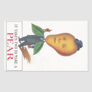 Sticker Antique Antrhopomorphic Fruit Pear Man Pun