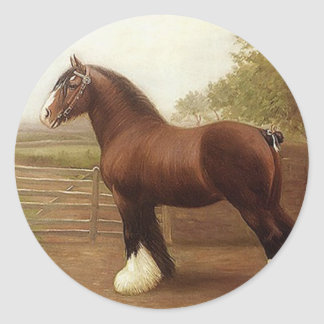 Sticker Antique Bay Clydesdale Draft Horse Parade