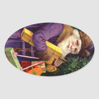 Sticker Antique Deep Purple Santa Suit Christmas