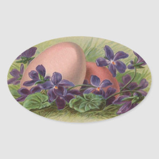 Sticker Antique Easter Eggs & Forget-me-not Flower