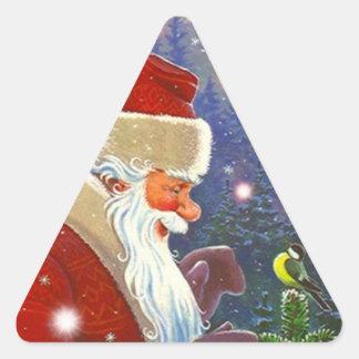 Sticker Antique Forest Santa Christmas Bird Winter