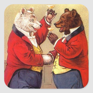 Sticker Antique Fun Anthropomorphic Bears Toasting