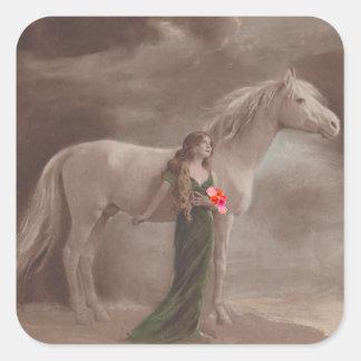 Sticker Antique Night Dream moonlight Horse Woman