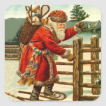 Sticker Antique Santa Claus Christmas Snowshoeing