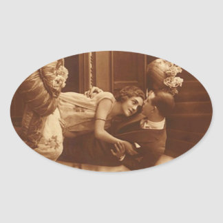 Sticker Antique Sepia Love Couple Engagement Piano
