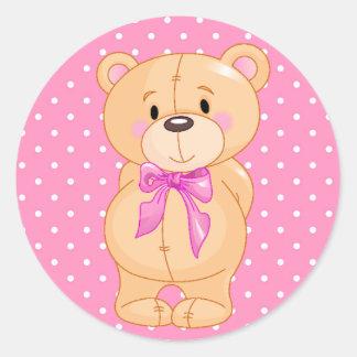 Sticker/Bear with Polka Dots Round Sticker