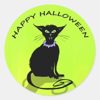Sticker - Black Halloween Cat with Purple Collar