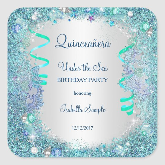 Sticker Blue Under The Sea Quinceanera 15th Party Zazzlecouk