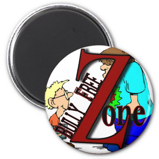 sticker-bully free zone-boyz 6 cm round magnet