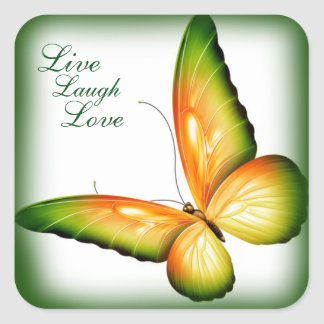Sticker/Butterfly with Live Laugh Love Square Sticker