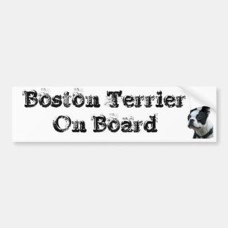 Sticker conveys Boston Terrier One Board Bumper Sticker