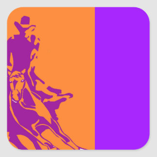 Sticker Cowboy Cutting Horse Pop-Art Ranch Purple